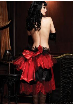 Bustle saten y lazo rojo falda